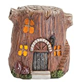 Cheap Bits and Pieces-Small Hand Painted Polyresin Garden Fairy House with Lights – Create Your Own Woodland Fairy Village