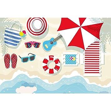 OERJU 1,5x1m Playa Partido Fondo Zapatillas Gafas de Sol ...