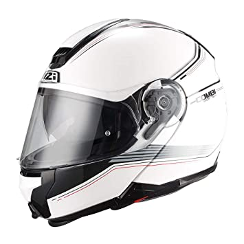 NZI - Casco Modular FIBRA Combi DUO Graphics Bands Blanco Decorado (XL)
