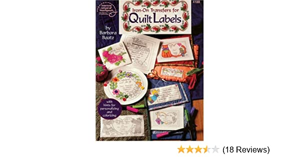 Quilt Labels Iron-on Transfers with Hints for Personaling Color Quilt Craft Book