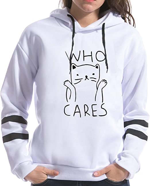 Hot Women Sweatshirt T Shirt Pullover Print Cat Contrasting Cute Long Sleeve
