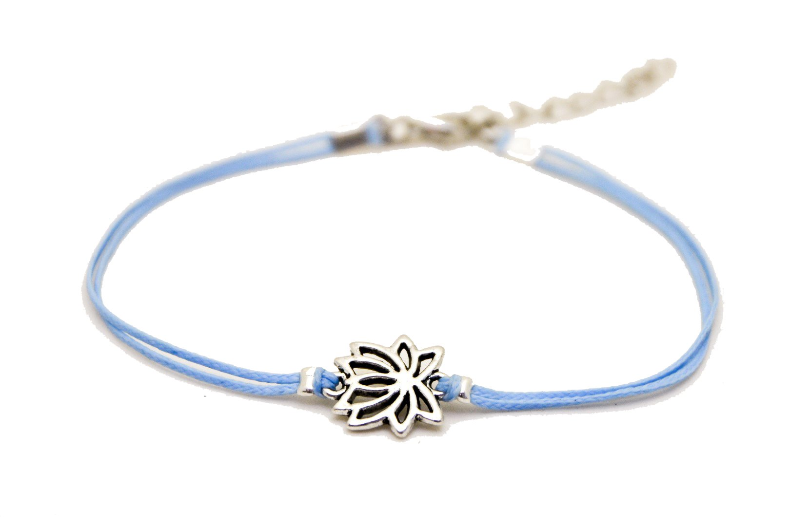 Lotus anklet, blue ankle bracelet with silver lotus charm, buddhist symbol, blue cord, zen, flower, yoga bracelet, spiritual jewelry, flower