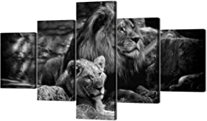 """Modern Lion and Lioness Canvas Wall Art 5 Panels Black and White Lions Painting Prints on Posters Easy to Hang for Home Decor - 70"""" Wx40 H"""