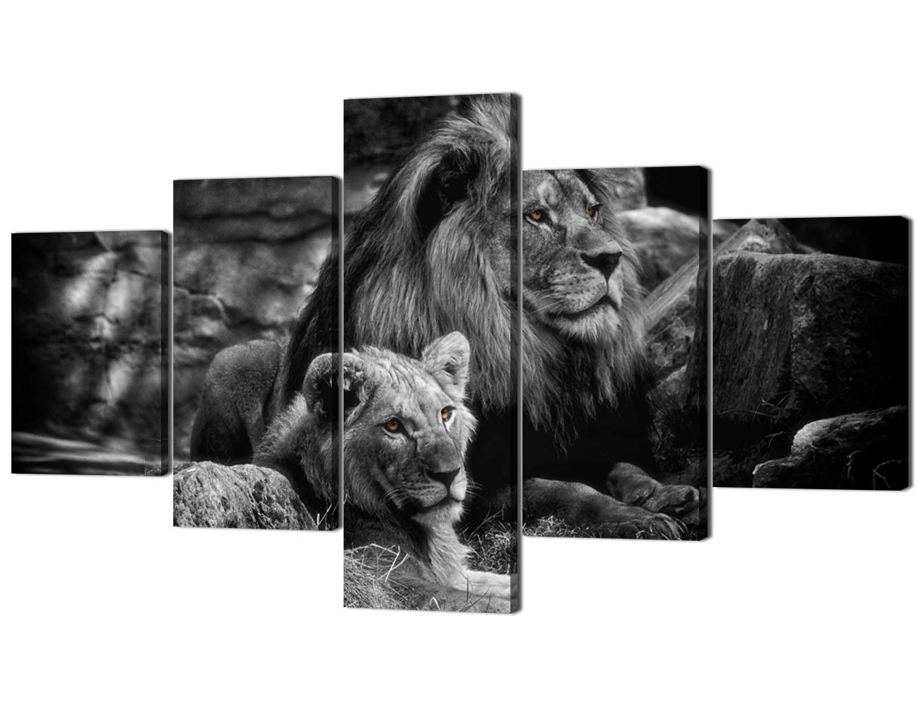 Yatsen bridge modern lion and lioness canvas wall art 5 panels black and white lions painting prints on posters easy to hang for home decor 70 wx40 h
