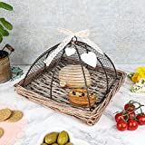 Woven Wicker Food Tray With Iron Cloche - Perfect For Alfresco Dining - W30 x H22.5cm by Dibor - French Style Accessories for the Home