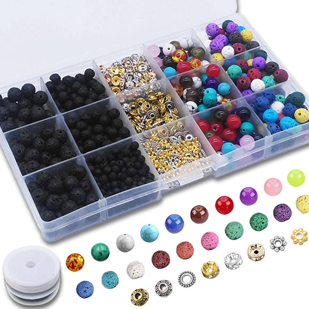 Afantti 1000 Pcs Lava Beads Lava Stone Rock Balls Kit Set with | Black & Colored | Chakra & Gemstone Beads | Spacer Beads | for Essential Oil Jewelry Bracelet Making