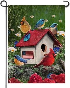 Artofy Home Decorative Cardinal Blue Birds Garden Flag, Spring Summer House Yard Outdoor Small Flag Birdhouse Daisy Flower Sign Double Sided, Rustic Outside Decorations Seasonal Decor Flag 12 x 18