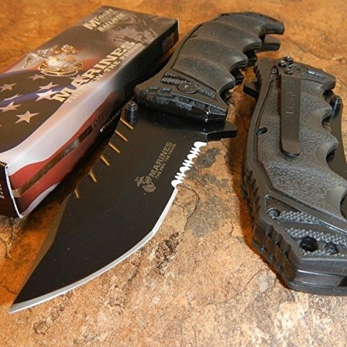 New USMC OFFICIALLY LICENSED US MARINES BLACK ASSISTED OPENING TACTICAL Eco'Gift LIMITED EDITION Knife with Sharp Blade Great For Fun and Practical Use!