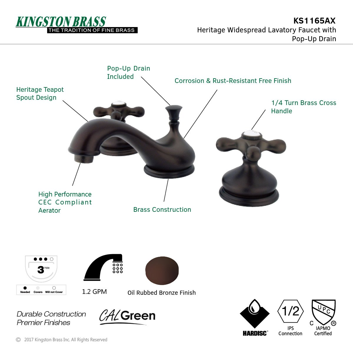 Oil Rubbed Bronze Kingston Brass KS1165AX Heritage Widespread Lavatory Faucet with Metal Cross Handle