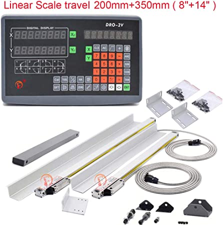 """14/"""" /& 38/"""" 2Axis Digital Readout TTL Linear Scale DRO Kit Milling Lathe Grinder"""
