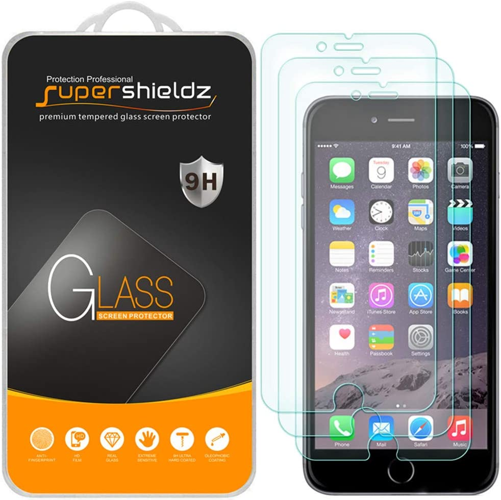 (3 Pack) Supershieldz for iPhone 6S Plus and iPhone 6 Plus Tempered Glass Screen Protector Anti Scratch, Bubble Free