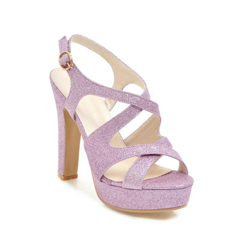 Pink MEIZOKEN Womens Ankle Strap Block Heel Platform Sandal Peep Toe Crisscross Strappy Cutout Party Pump Sandals