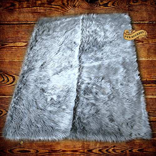 Shag Carpet - Extraordinary Faux Fur Rug - Accent - Area Rug - Throw Rug and Design - Hand Made in The USA (6'x10', Gray)