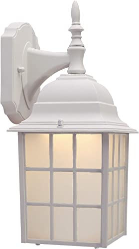 CO-Z White Exterior Light Fixtures Wall Mount, White Porch Light Outdoor Wall Lantern with LED Bulb, Outdoor Wall Light with Matte White Finish Housing Plus Frosted Glass, ETL Certificated.