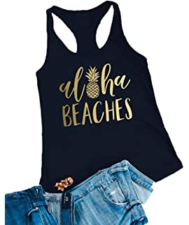 8b4158bfbf Aloha Beaches Tank Tops Women Pineapple Graphic Vest Summer Sleeveless  Casual Shirt