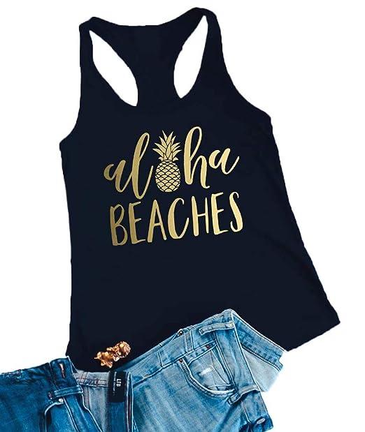 3f10e7d762 Amazon.com: FAYALEQ Aloha Beaches Tank Tops Vacation Bachelorette Party  Funny Pineapple Letter Print Vest Hawaiian Shirt for Women: Clothing