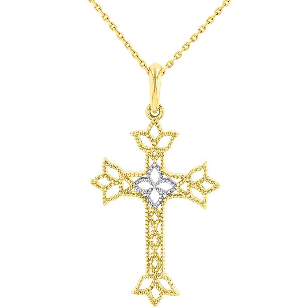 14K Yellow Gold Milgrain Fleur de Lis Cross Charm Catholic Pendant Necklace