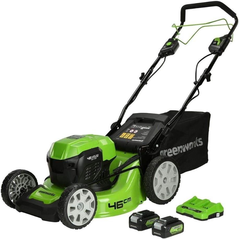 Greenworks Tools GD24X2LM46SPK4x Cortacéspedes rotativos, Verde, negro, gris