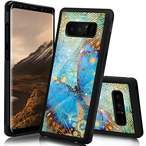 Ademen Samsung Galaxy Note 8 Case, Butterfly Design Hard PC Soft Silicone Protective Durable Shockproof Case For Samsung Galaxy Note8 ()