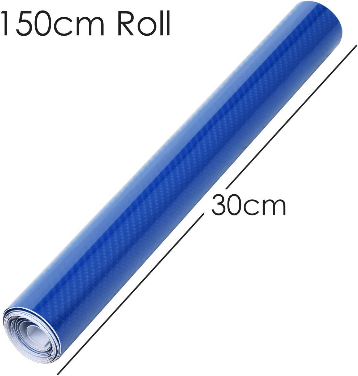 sans Bulle pour Voiture Van Moto int/érieur et ext/érieur /& Tech 1500 x 300mm TRIXES Vinyl Wrap Auto-adh/ésif en Vinyle de Carbone 6D Couleur Bleu Brillant