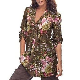 Cinnamou Las Mujeres Tops y Blusa Mangas Cortas Camisetas Vintage Estampado Floral con Cuello EN V Túnica de La Mujer Moda Más Tamaño: Amazon.es: Ropa y ...