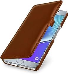 StilGut Book Type Case con Clip, Custodia in Vera Pelle per Samsung Galaxy Note 5, Cognac
