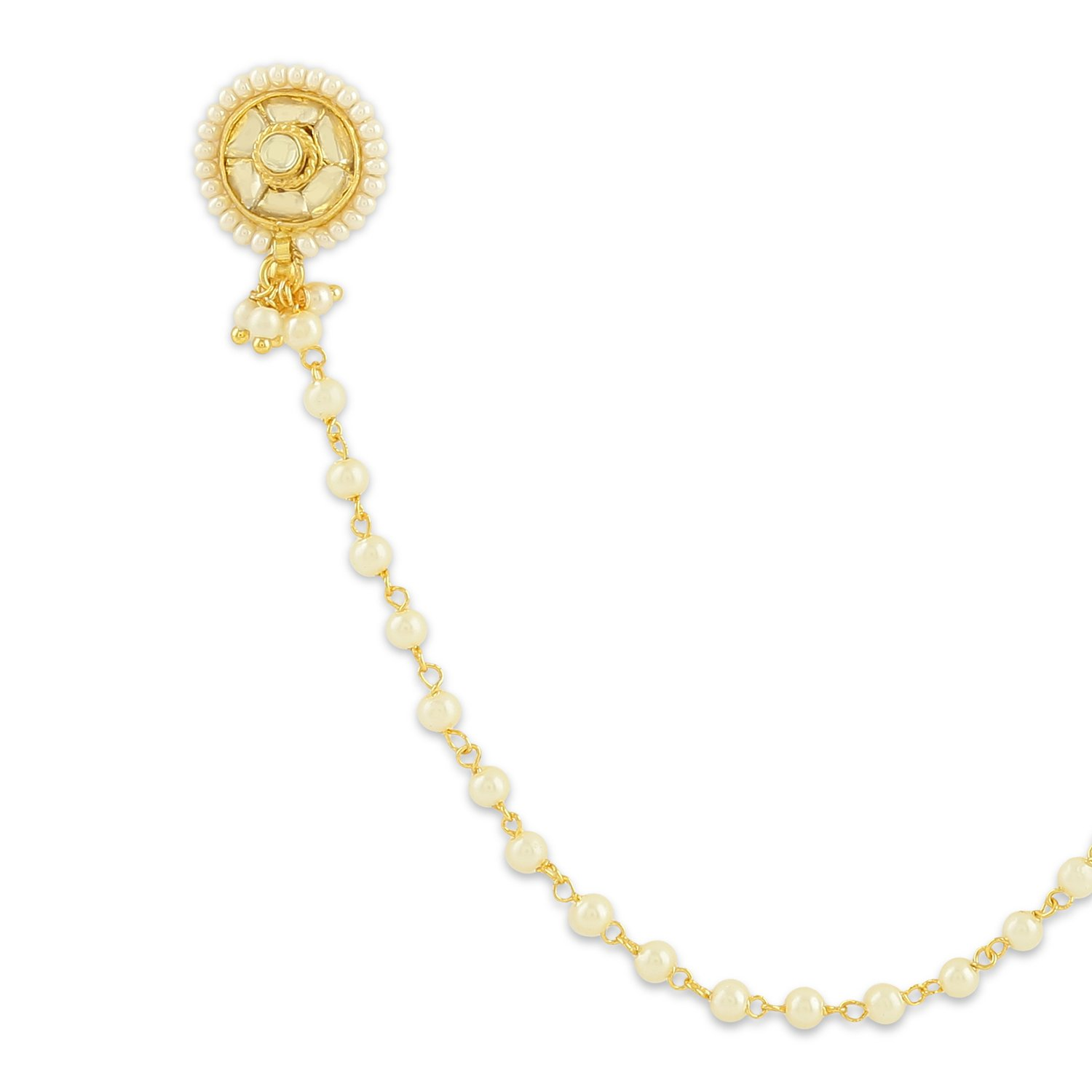 Buy Accessher Golden Kundan Nose Pin With Chain Clip On Nose Ring