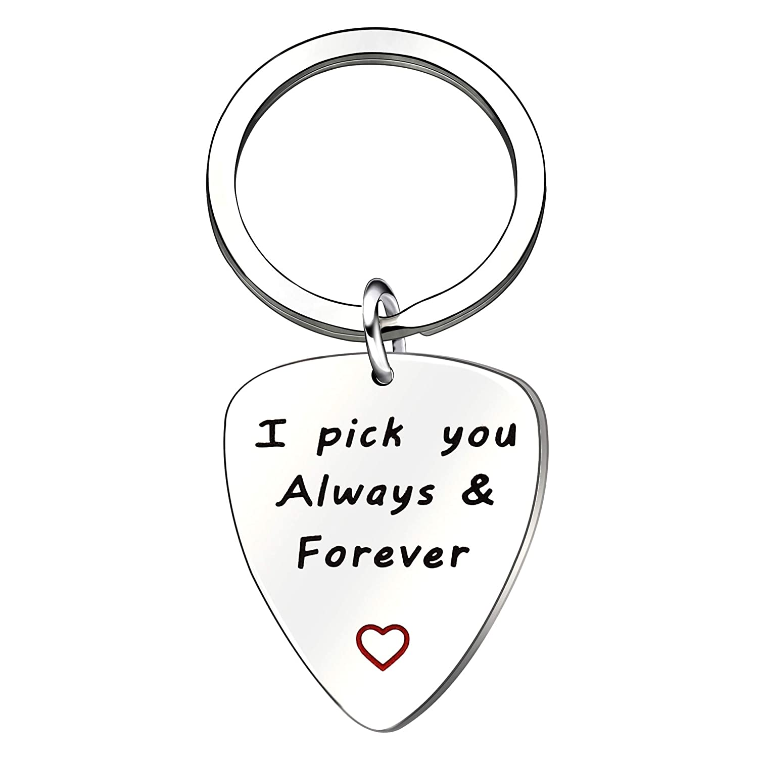 lauhonmin Guitar Pick/Key Chain I'd Pick You Every Time Stainless Steel - Musician Guitarist Husband Boyfriend Gift (Pick you always & forever)