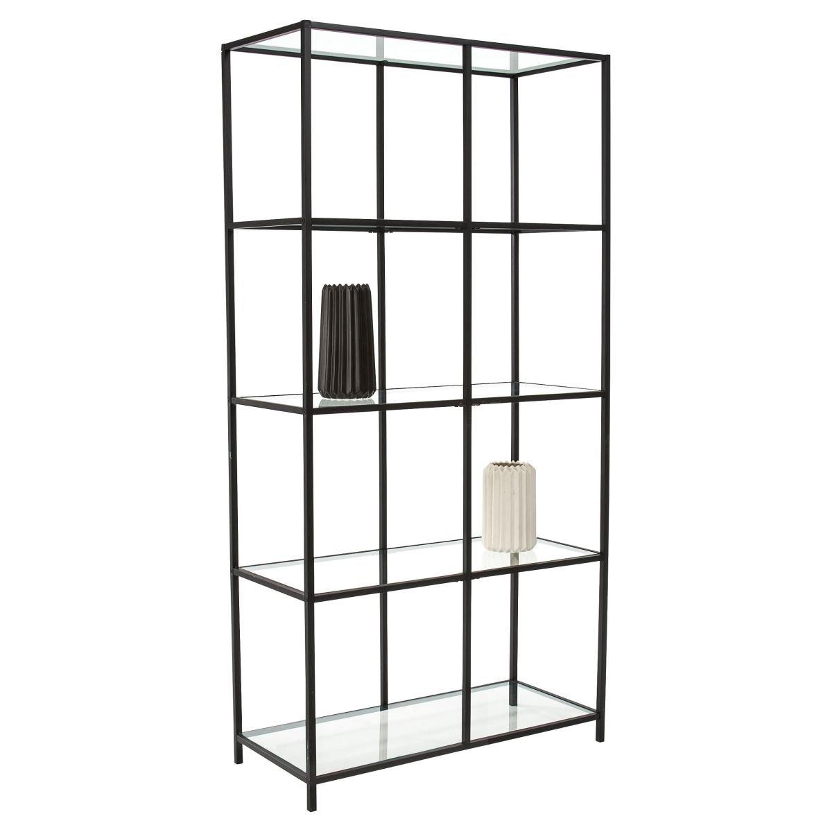 Miavilla Regal Larson - Modernes Standregal - Metall Glas- Schwarz