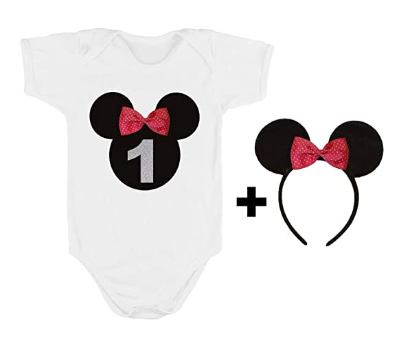 2429423009a Conjunto Primer Cumpleaños Bebe Niña   1 Año Número 1   Body o Camiseta +