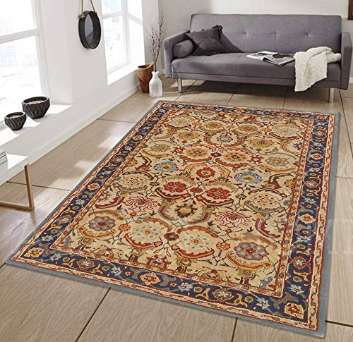 Allen Home Wool Rug 3'X5' 2.5X9' 5'X8' 8'X10' 9'X12' Alvira Beige Tufted Art and Crafts Persian Traditional Wool Rug Carpet (9'X12') ()