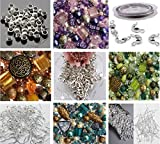 Approx X 400 Jewelry Making Beads Mix Starter Kit for Beginners in Purple Gold & Green Jewelry Findings
