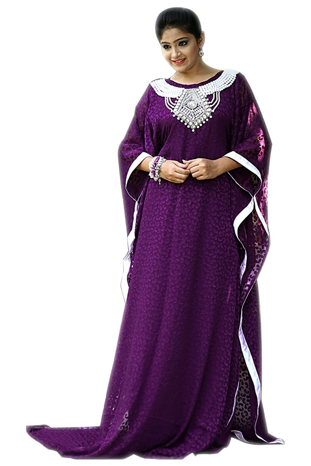 PalasFashion Women's Purple Color Crepe Kaftan - One Size