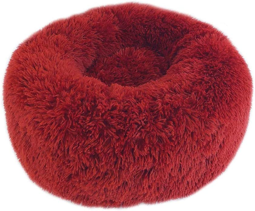 PET BED Round, Calming Plush Nest Warm Soft Cushion Donut Cuddler Bed Sofa, Sleeping Bag Orthopedic Relief Improved Sleep, Anti-Slip Bottom Machine Washable,1,S