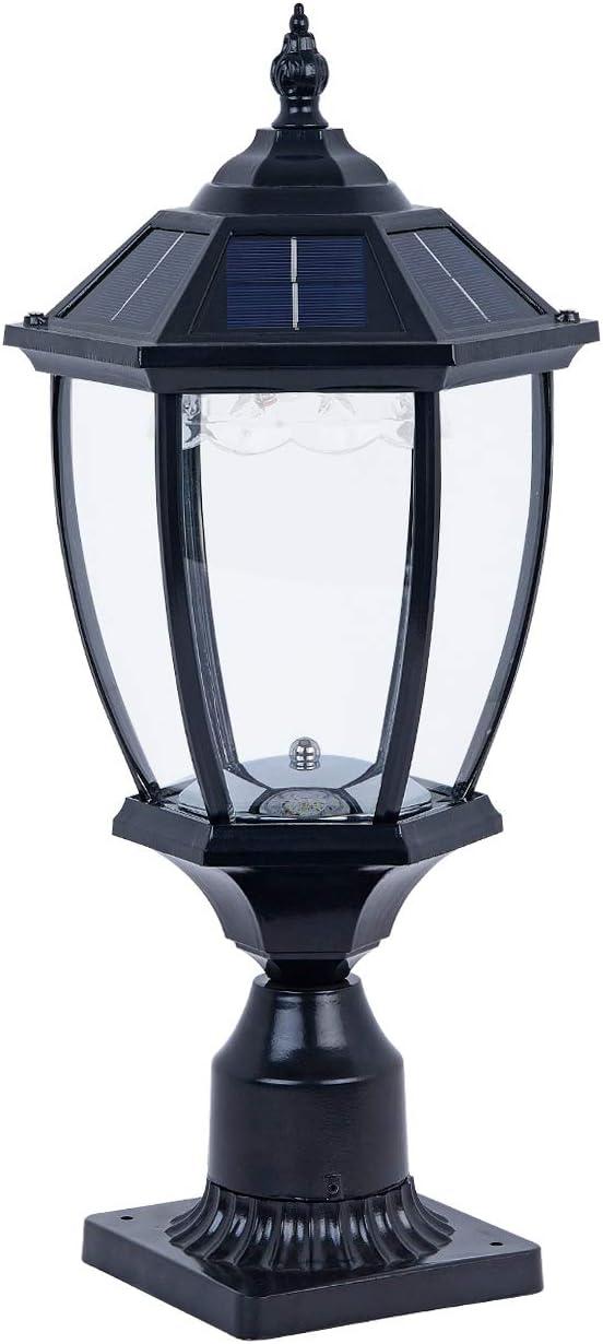 GYDZ Solar Post Lights Outdoor Solar Lamp Post Light Solar Pillar Light for Gate Porch, Stone Pillar, Waterproof Led Pier Light Warm White,Oil-Rubbed Black Die Cast Aluminum Housing with Clear Glass