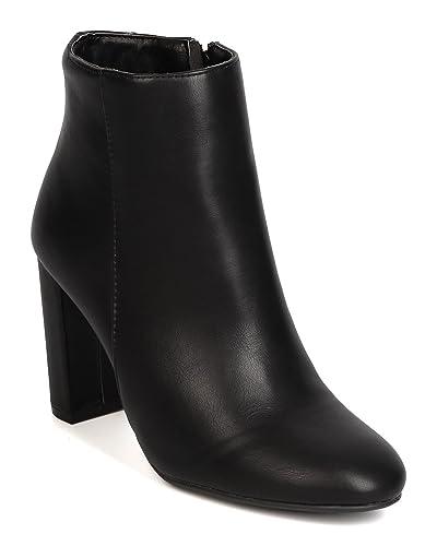 FI46 Women Leatherette Round Toe Chunky Heel Bootie - Black