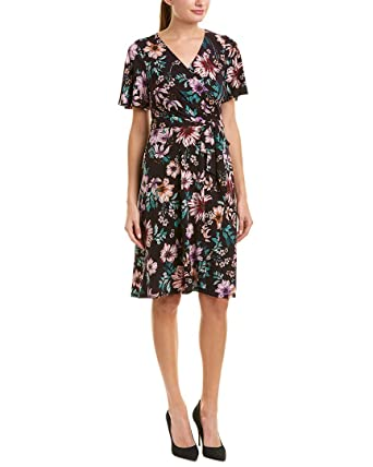 6e11eb73fe Donna Morgan Women s Floral Jersey Wrap Dress Flutter Sleeve Dark Plum Lilac  Multi 0