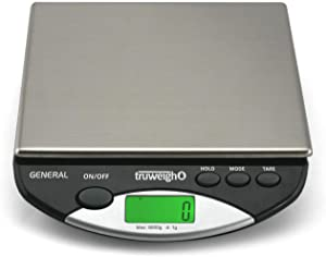 Truweigh - GENERAL Compact Bench Scale - (8000g x 1g - Black) and Long Lasting Portable Grams Scale - Kitchen Scale - Food Scale - Postal Scale - Herb Scale - Meal Prep Scale