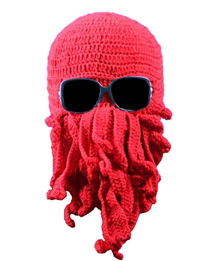 90236628962 Amazon.com  Mens Knit Hat Winter Funny Octopus Beard Beanie Hat Face ...