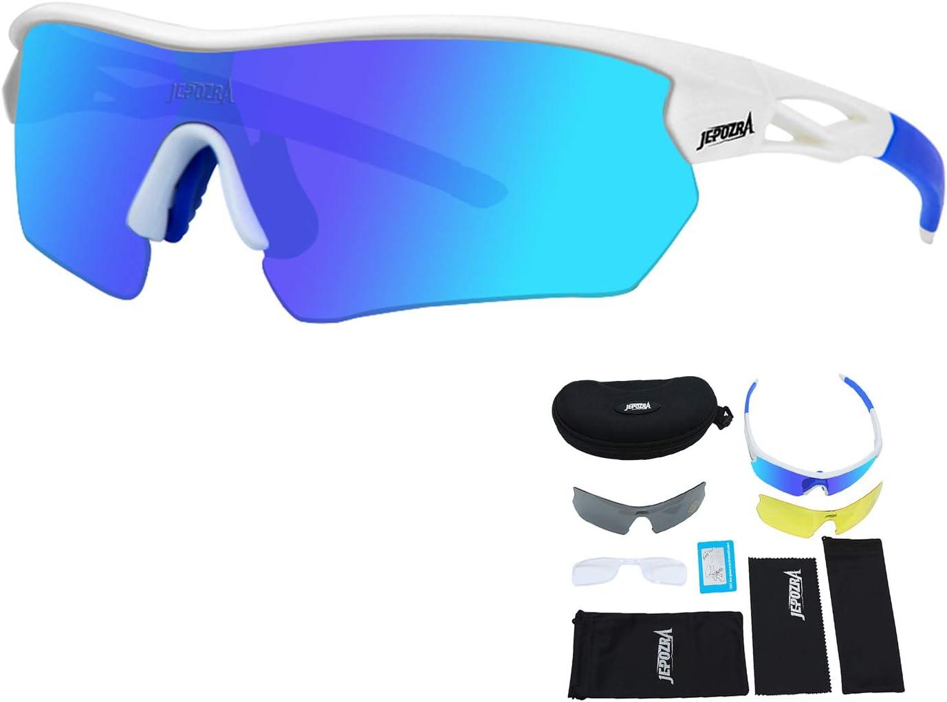 Faire du V/élo Lunettes de Soleil Polaris/ées avec 3 Verres Interchangeables TOPTETN Lunettes de Cyclisme Ski p/êche Courir Lunettes de Sport UV400 pour Les Activit/és de Plein Air