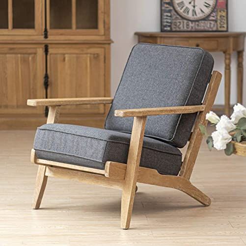 Crestlive Products Oak Mid-Century Accent Armchair Home Upholstered Wooden Lounge Chair