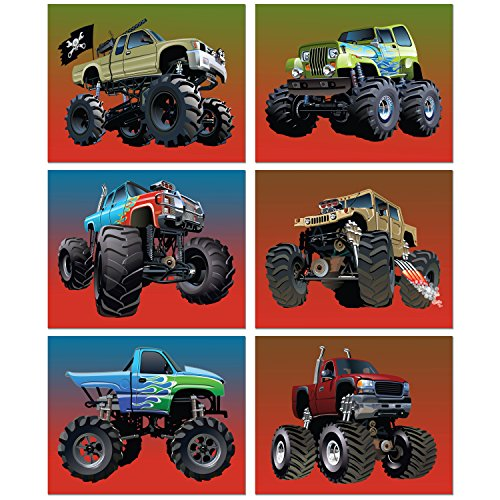 - Monster Truck Poster Prints - Set of 6 (8 inches x 10 inches) Photos - Kids Wall Art Decor