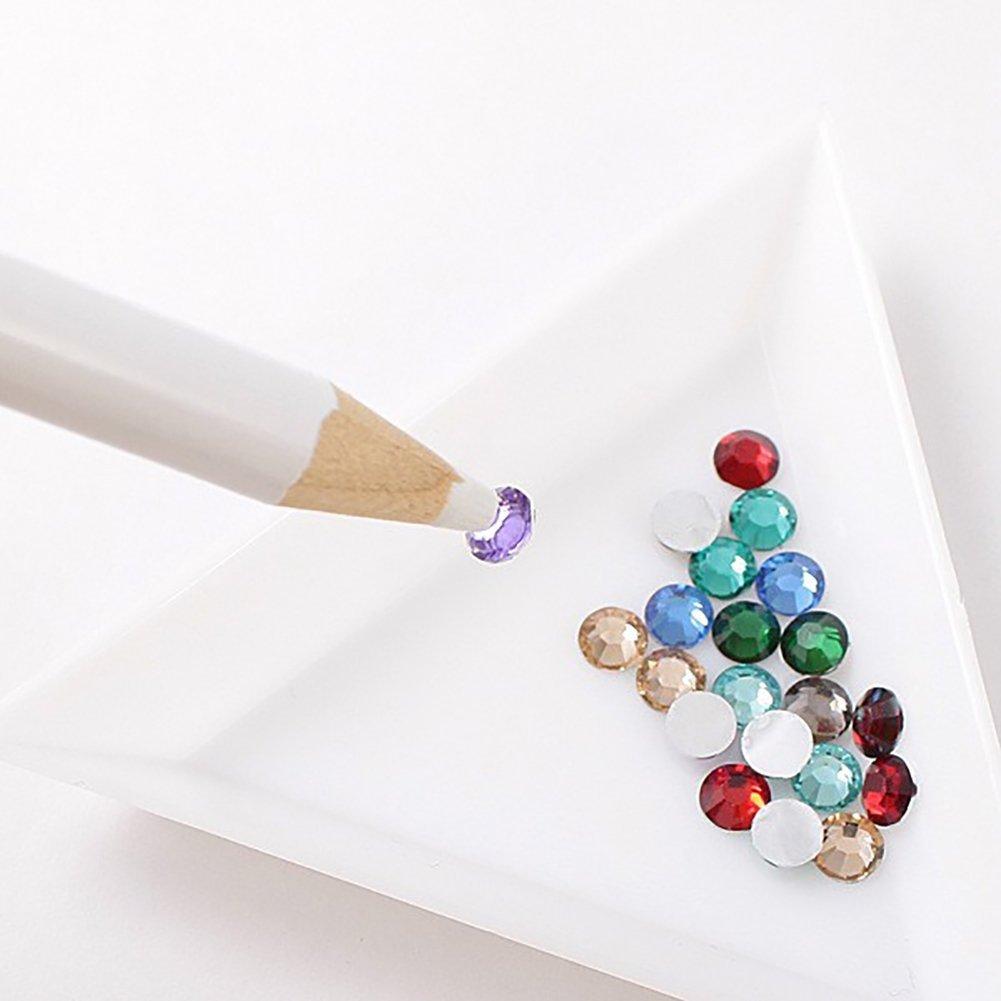 BCQLI 20pcs White Triangle Bead Sorting Trays,Magical Tray for Rhinestones for Flipping Flatback Rhinestones