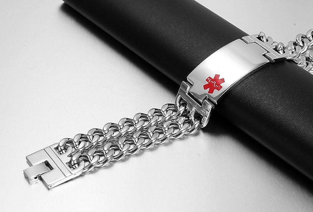 VNOX Free Engraving-Mens Medical Alert ID Wide Large Bracelet Stainless Steel Wrist Link Chain,8.3//8.9
