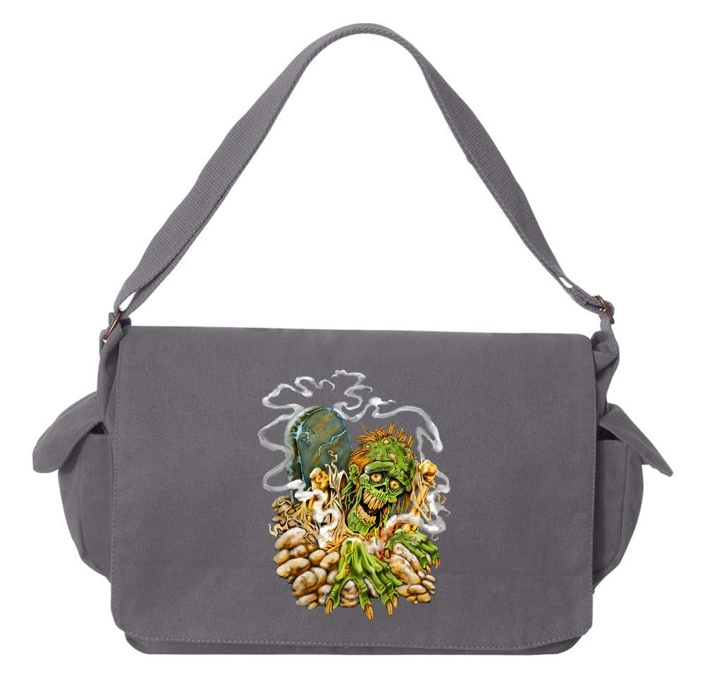 Tenacitee Zombie Graveyard Maroon Brushed Canvas Messenger Bag