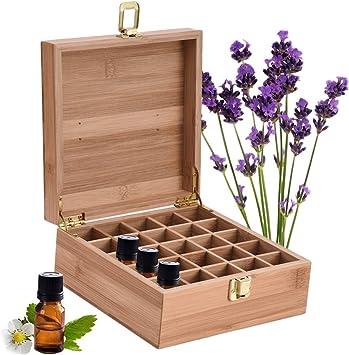 Caja de Bambú de Almacenamiento de Aceite Esencial de 25 Ranuras - Almacenamiento 5 a 10 ml de Botellas de Aceites Esenciales y Perfume #2: Amazon.es: Salud y cuidado personal