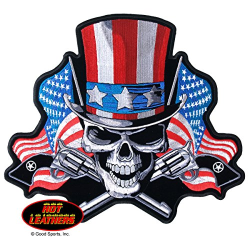 Angrier Uncle Sam Flag & Pistols Skull Biker Motorcycle Uniform Patch 10X9 #P-Xl (Jacket Sam Biker Uncle)