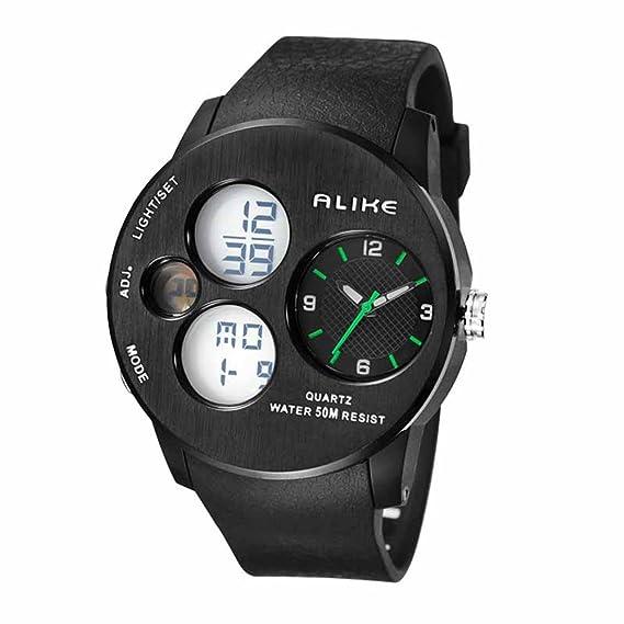 Alike caliente venta ak16120 moda lujo especial Digital reloj cuarzo Dual veces muestra resistente al agua