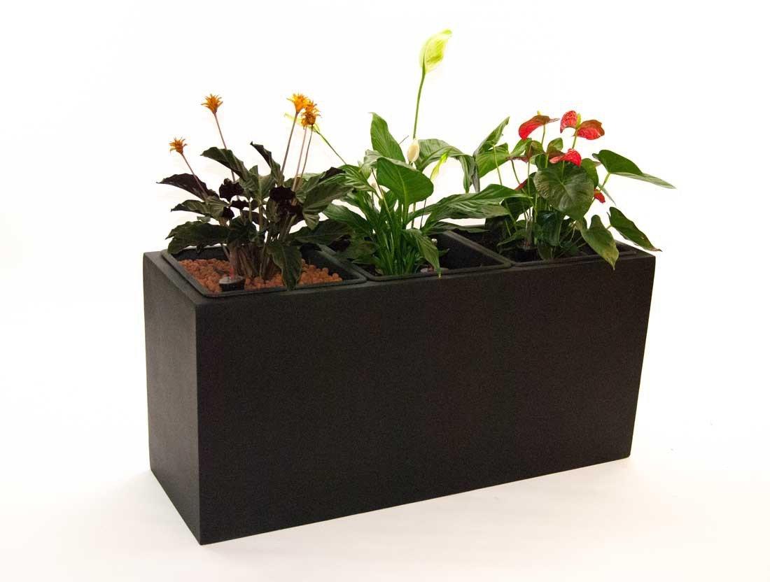 Pflanztrog Blumentrog Raumteiler Fiberglas rechteckig LxBxH 108x38x50cm elegant schwarz-matt
