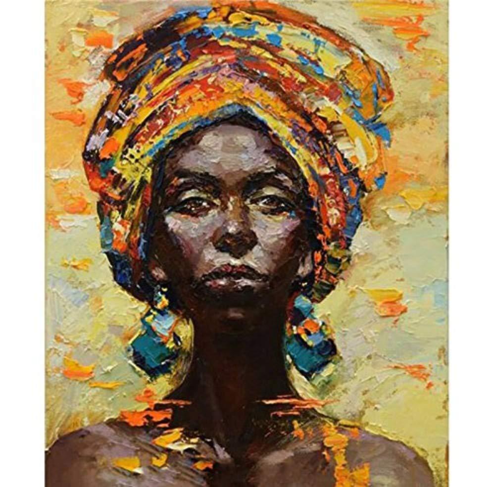 Ölgemälde Auf Leinwand Handgemalt,Abstract Bild Porträt Gemälde, Orange Farbigen 3D-Effekt Schwarz Afrikanische Frau,Modernes Handgefertigte Kunst Wand Dekoration Für Wohnzimmer Schlafzimmer Home